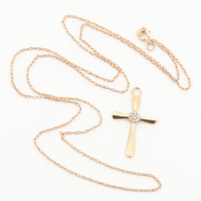 10K Yellow Gold Diamond Cross Pendant Necklace