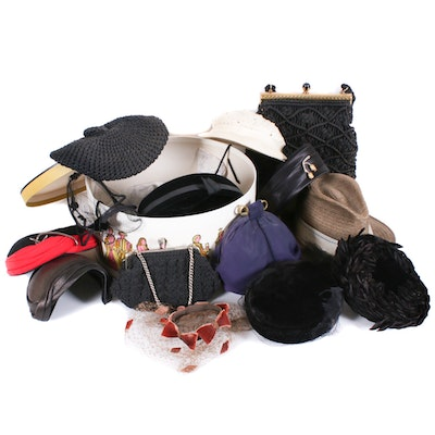 Beret, Panama Hat, Toque, Pillbox, Evening Clutches and More, Mid-20th Century