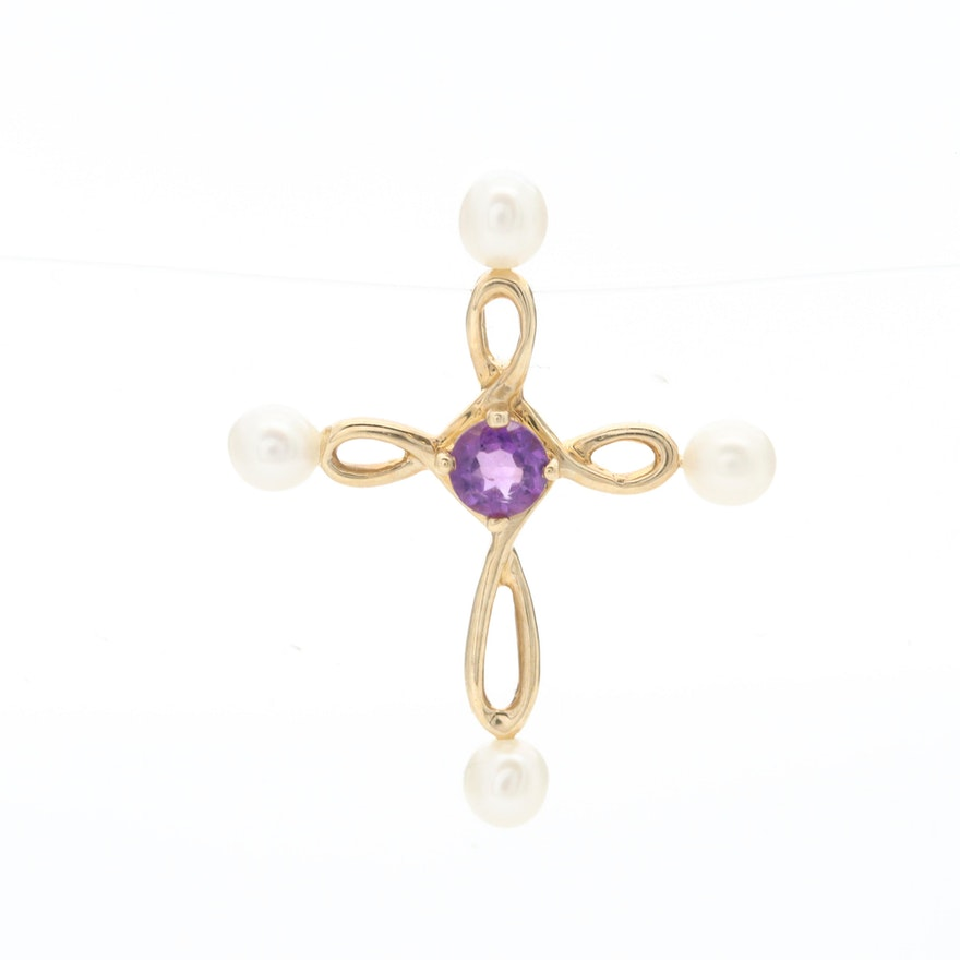 14K Yellow Gold Amethyst and Cultured Pearl Cross Pendant