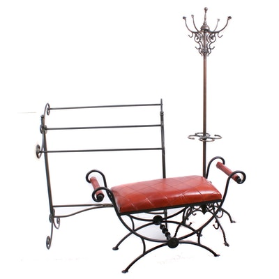 Wrought Iron Quilt Stand, Coat Rack and Faux Leather Vanity Bench