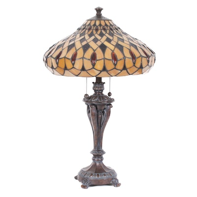 Tiffany Style Table Lamp with Slag Glass Shade