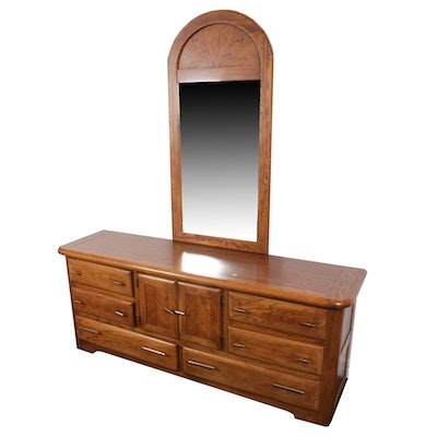Oak Chest of Drawers and Mirror, Late 20th Century