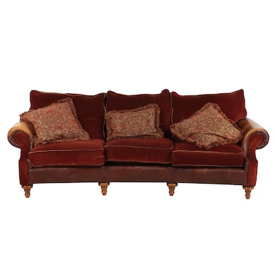 Contemporary Mayo Furniture Fabric and Leather Upholstered Sofa