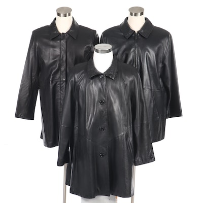 Women's Black Leather Coats Featuring Brandon Thomas