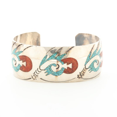 Southwestern Sterling Silver Chipped Turquoise and Chipped Coral Cuff Bracelet