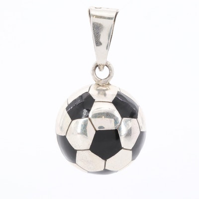 Mexican Sterling Silver Resin Soccer Ball Pendant