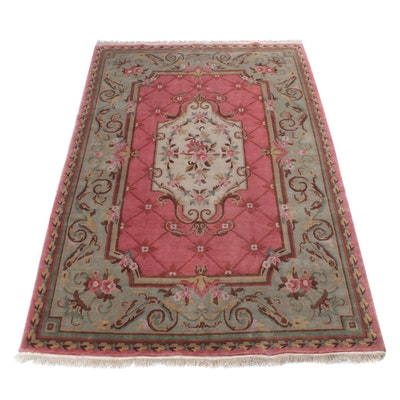 6' x 9'2 Hand-Knotted Indo-French Savonnerie Rug