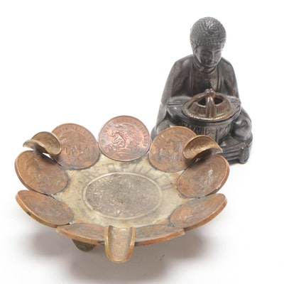 Mexican 20 Peso Restrike Coin Ash Receiver and Buddha Incense Burner