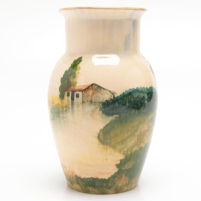 Hand-Painted Vase with Landscape Motif, Mid to Late 20th Century