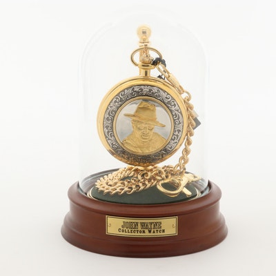 """Franklin Mint """"John Wayne"""" Pocket Watch With Fob and Stand With Glass Dome"""