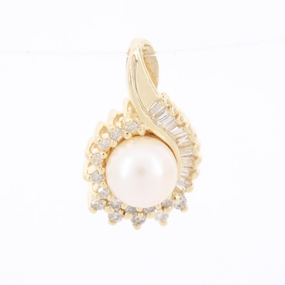 14K Yellow Gold Cultured Pearl and Diamond Pendant