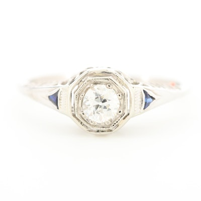 Art Deco 18K White Gold Diamond and Synthetic Blue Sapphire Ring