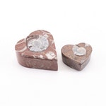 Ammonite Fossil Heart Shaped Jewelry Boxes