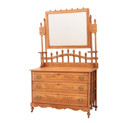 Aesthetic Movement Style Sycamore Dresser and Mirror, Late 19th-Century