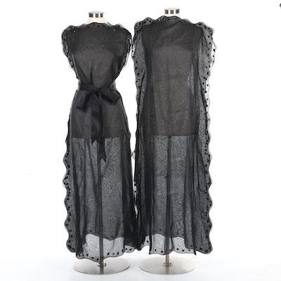 Courreges Paris Black Sequined Silk Blend Caftan Dresses with Tie Sash, Vintage