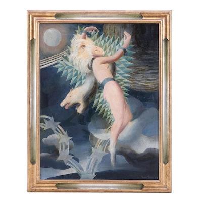 Jean Janin 1928 Allegorical Style Oil Painting