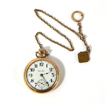 Gold-Tone c.1920s Hamilton Pocket Watch with Fob Chain with Locket
