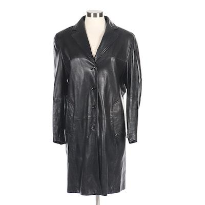 John F. Firenze Mabrun Collection Black Lambskin Leather Coat