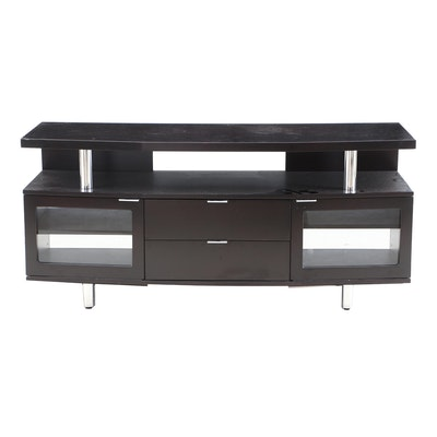 Espresso Finish Wooden Entertainment Stand with Storage, Contemporary