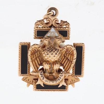 14K Gold Masonic 32nd Degree Fob, Circa 1900 and 20.53 Grams