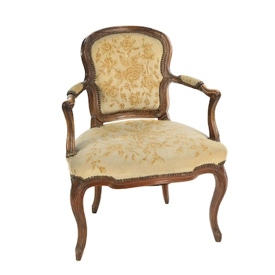 Louis XV Style Walnut and Needlepoint Fauteuil, 19th Century