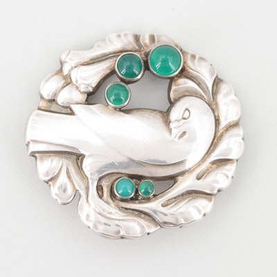 Georg Jensen Sterling Silver and Chrysoprase Dove Brooch Number 123