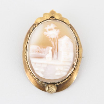 Vintage 14K Yellow Gold Carved Shell Cameo Brooch