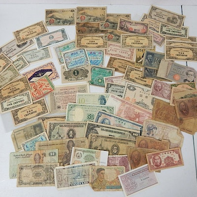 Assorted Foreign Currency with Japan, France, Germany, Hong Kong, More
