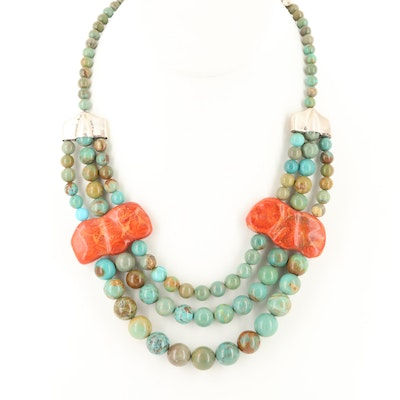 Desert Rose Trading Co. Sterling Turquoise and Coral Multi Strand Necklace