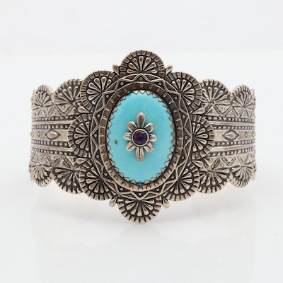 Carolyn Pollack Sterling Silver Turquoise & Amethyst Cuff Bracelet