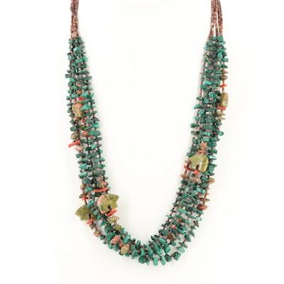 Southwestern Style Malachite, Unakite and Coral Five Strand Bear Fetish Necklace
