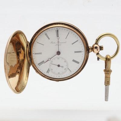 J. Perrenoud Locle 14K Yellow Gold Enamel 40MM Pocket Watch, Circa 1850