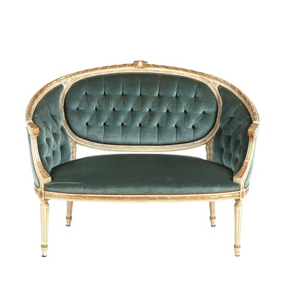 Gustavian Painted Wooden Teal Velvet Upholstered Settee, 20th Century