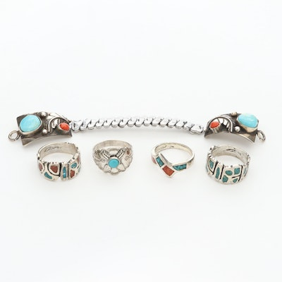 Sterling Silver Turquoise, Coral and Chip Turquoise Rings and Watch Band