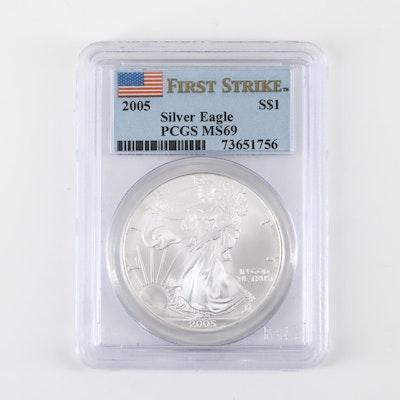 PCGS Graded MS69 2005 American Silver Eagle $1 Coin