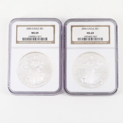 Two NGC Graded MS69 American Silver Eagle $1 Coins