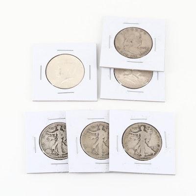 Six U.S. Silver Half Dollar Coins