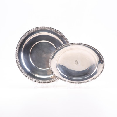"""Old Wallingford"" Sterling Plate with Sheffield Silver Co. Oval Tray"