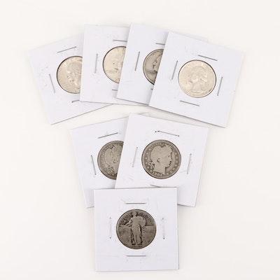 Seven U.S. Silver Quarters