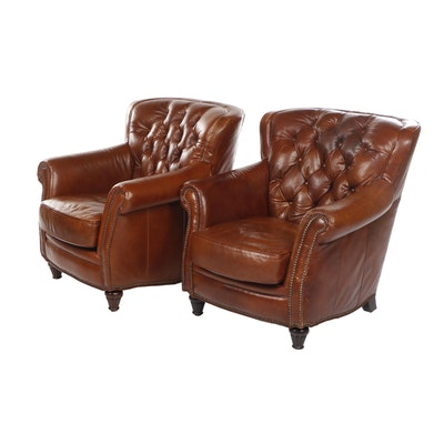 "Walter E. Smithe ""Connolly"" Button Tufted Tan Leather Armchairs, Contemporary"
