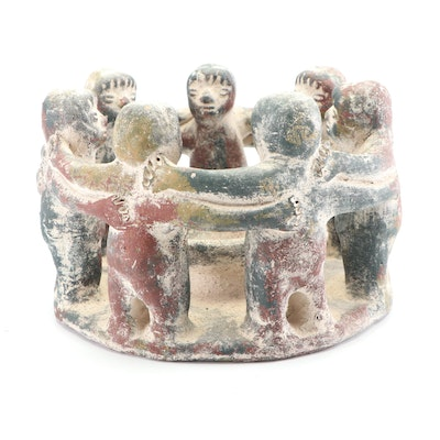 "Mexican Stoneware ""Circle of Friends"" Figural Candleholder"