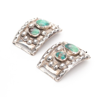 Southwestern Sterling Silver Turquoise Decorative Lug Ends for a Watch Band