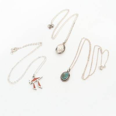 Sterling Silver Necklaces Including Chai and Turquoise