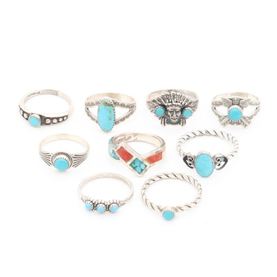 Southwestern Sterling Silver Turquoise, Chip Coral and Chip Turquoise Rings