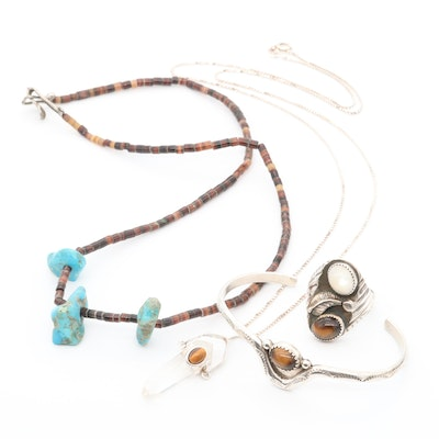 Sterling Silver Turquoise, Shell and Tiger's Eye Assorted Jewelry