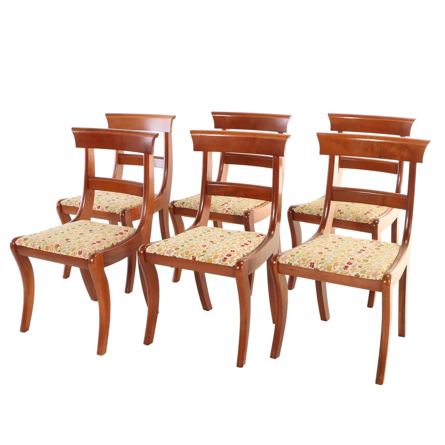 Six Classical Style Cherrywood Benchmade Dining Side Chairs, 20th Century