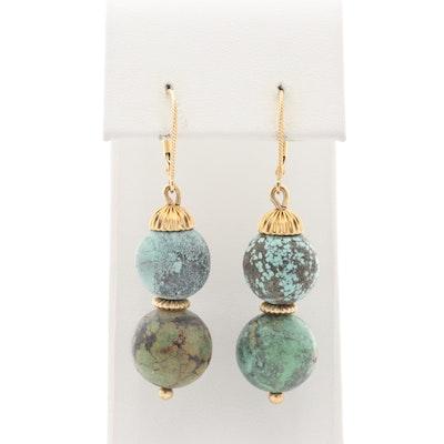 14K Yellow Gold Turquoise Dangle Earrings