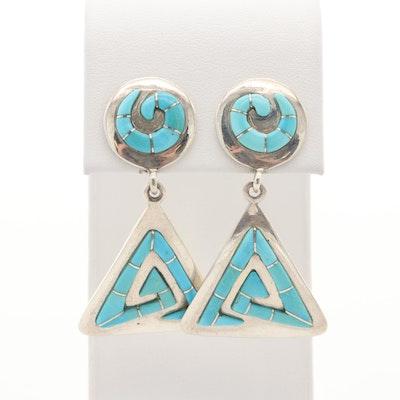 Southwestern Sterling Turquoise Dangle Earrings