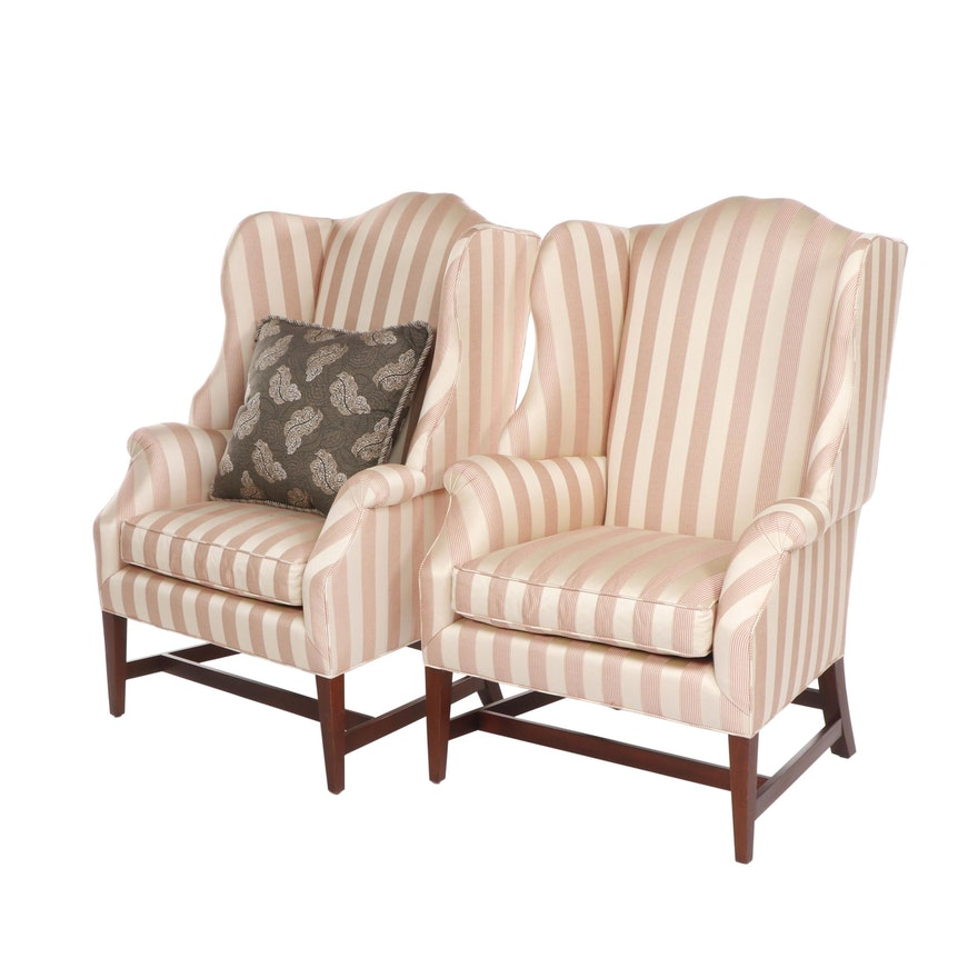 Pair Of Baker Striped Upholstered Wingback Armchairs Contemporary