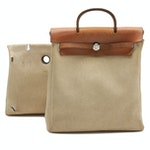 Hermès 2 in 1 Herbag Backpack in Natural Toile and Vache Leather